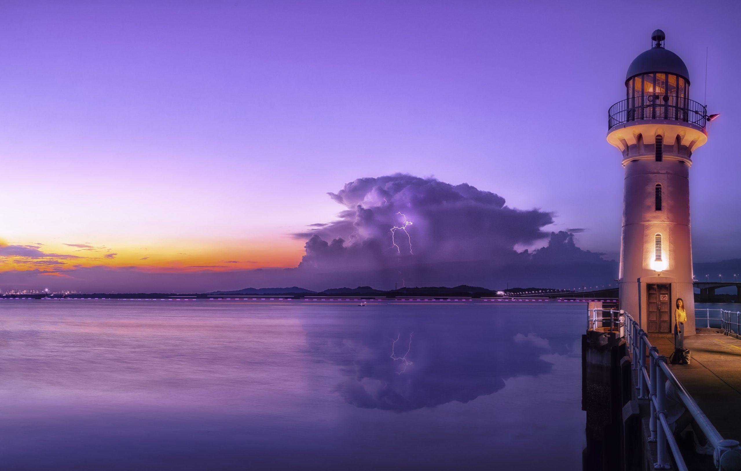 Dusk with lightning Surprise. Raffles Marina. Singapore. NW