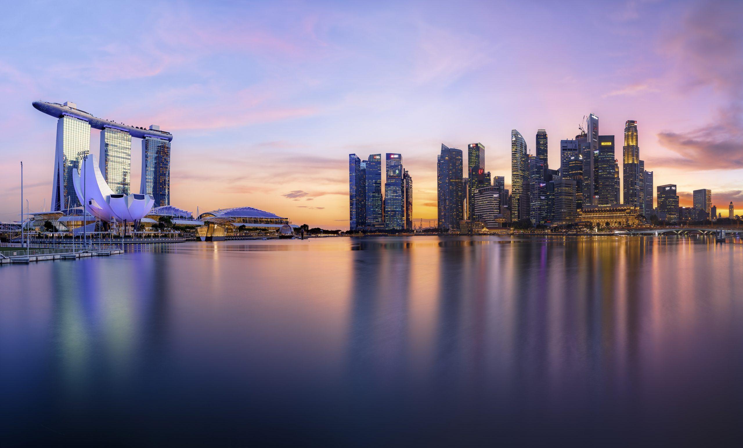 Sunset. Marina bay. Singapore. NW